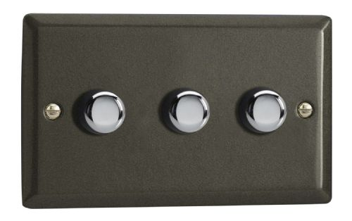 Varilight JPDP303 Classic Graphite 21 3 Gang 2-Way Push On/Off LED Dimmer 0-120W V-Pro